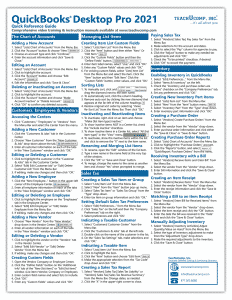 QuickBooks Pro 2021 Quick Reference Cards: Buy QuickBooks Pro 2021 Quick Reference Cards at TeachUcomp, Inc. A picture of the first page of the QuickBooks Pro 2021 Quick Reference Card.
