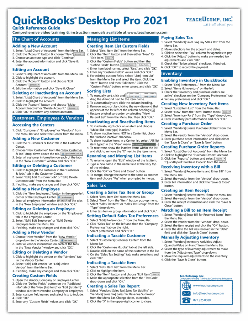 Buy QuickBooks Desktop Pro Quick Reference Cards at TeachUcomp, Inc: A picture of the first page of the QuickBooks Desktop Pro Quick Reference Card.