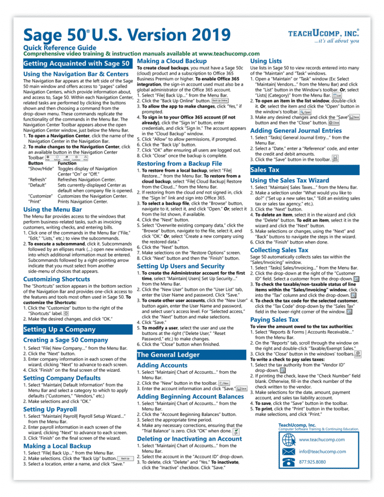 Buy Sage 50 2019 Quick Reference Cards: A picture of the first page of the Sage 50 2019 Quick Reference Card.