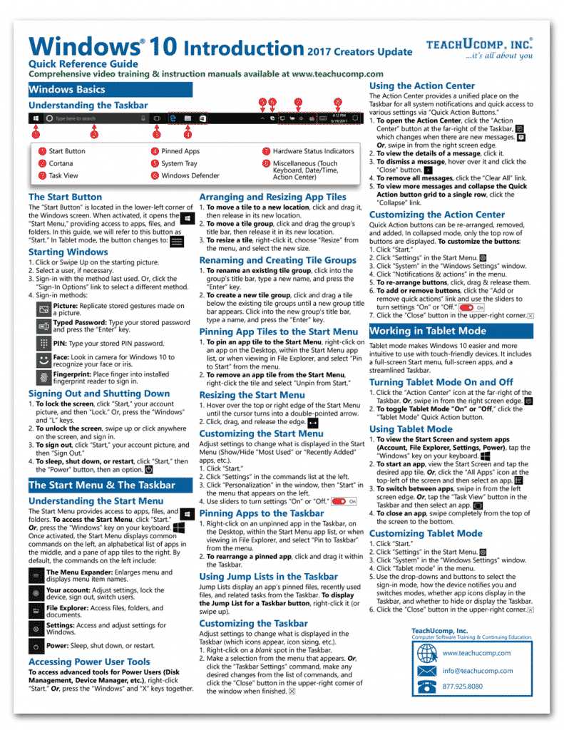 Buy Windows 10 Quick Reference Cards: A picture of the first page of the Windows 10 Quick Reference Card.