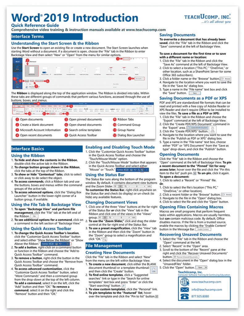 Buy Microsoft Word 2019 Quick Reference Cards: A picture of the first page of our four-page laminated cheat sheet for Word 2019.